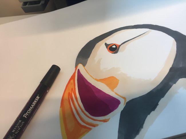 Puffin bird in progress